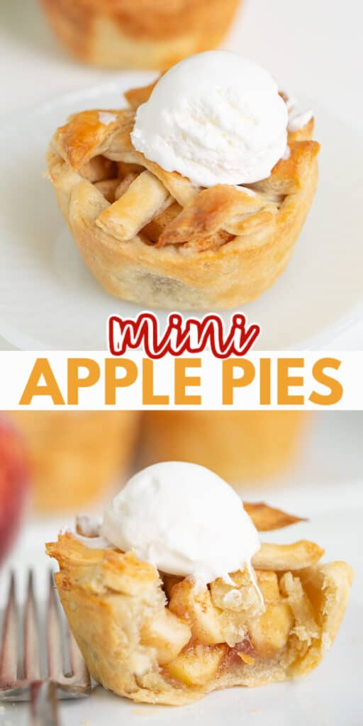 collage of a mini pie with a scoop of whipped topping and a second image of a bite taken out with text in the middle of collage