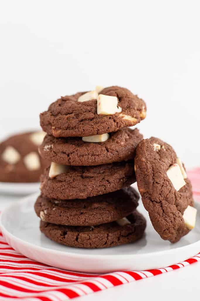 stack of cookies on a white dessert plate on a red and white striped fabric