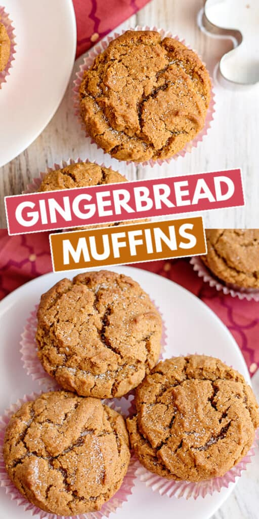 collage of two photos showing the gingerbread muffins with block text in the middle