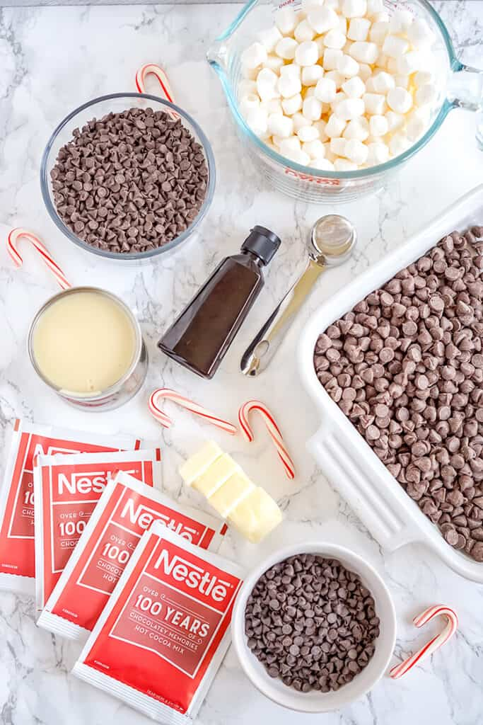 overhead photo of the ingredients laid out to make hot chocolate fudge