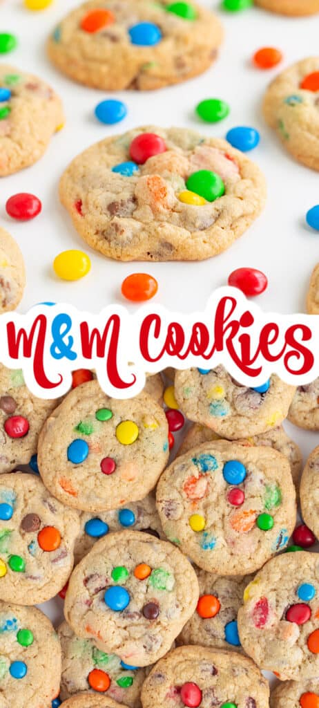 collage showing cookies piled on each other and a second photo with them on a white surface with candies and text the middle of collage