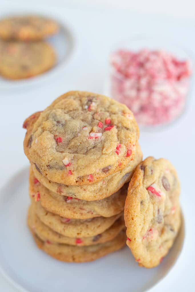 overhead photo of a stack of cookies showing the speckles of peppermint