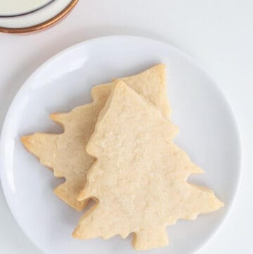 image for recipe card showing an overhead of the cookies on a white plate
