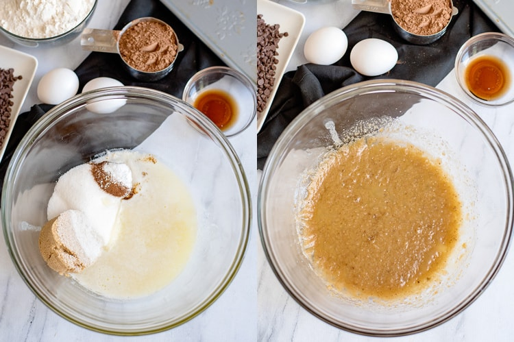 collage showing adding ingredients to a glass bowl and a second photo showing them combined.