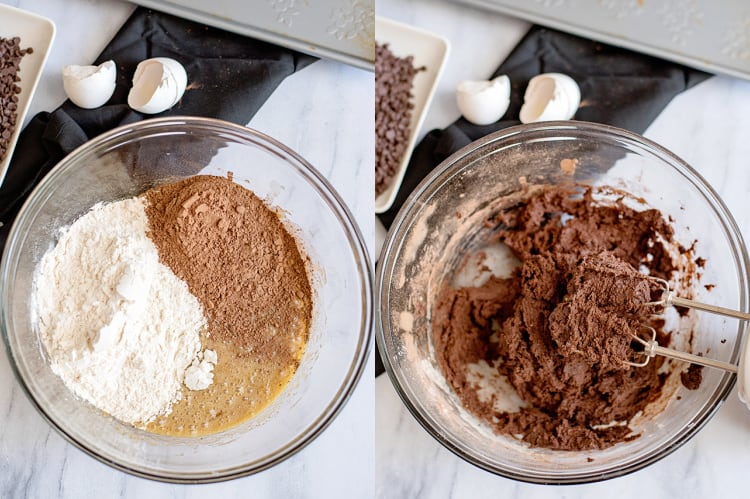 collage showing adding dry ingredients to the batter and then after it's combined