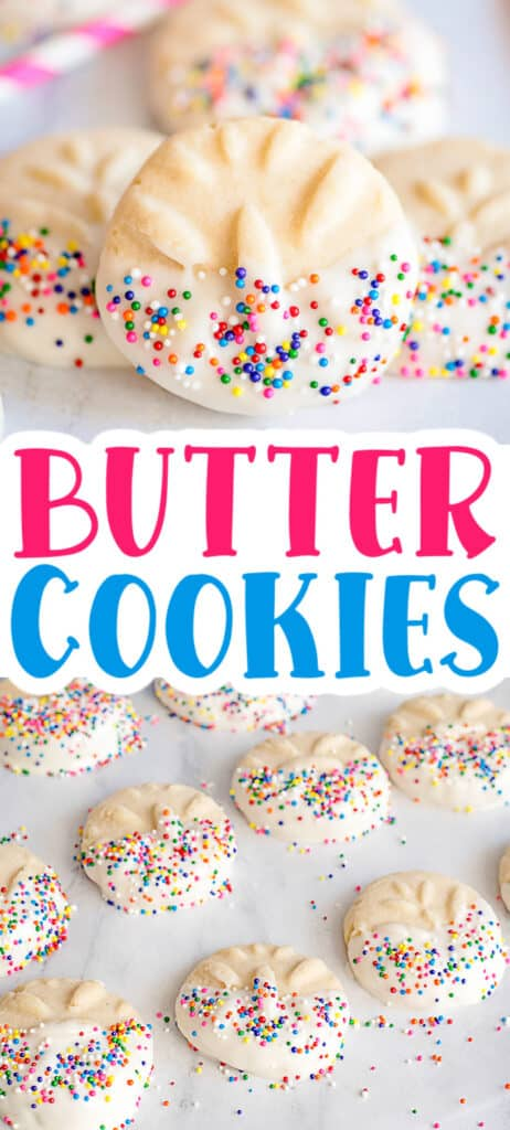 collage of butter cookies on a white surface with text in the middle