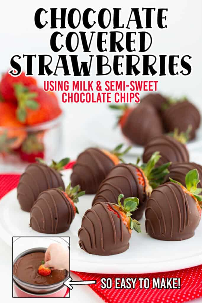 image for pinterest showing the chocolate covered strawberries with text
