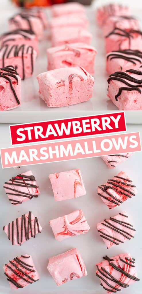collage up photos showing strawberry marshmallows on a platter from the side and overhead