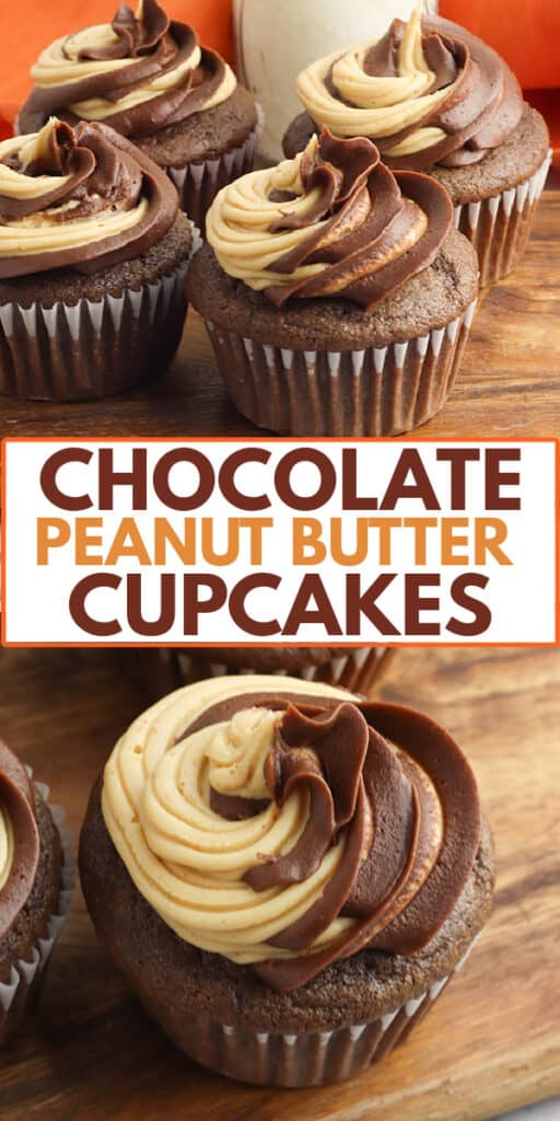 collage of chocolate cupcakes on a board and a second photo of the top of cupcake with text in the middle of collage
