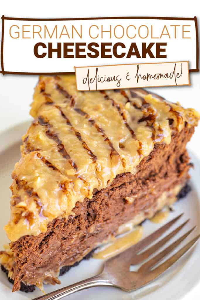 zoomed in image of the cheesecake showing the topping with text at the top