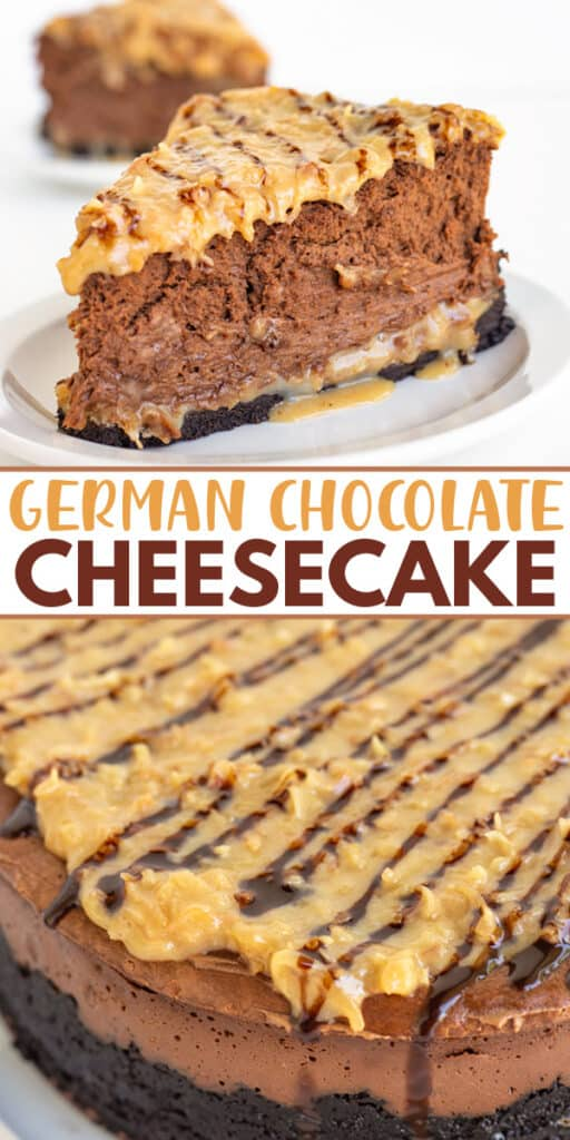 collage showing a slice of cheesecake and an overhead shot of the cheesecake with text in the middle