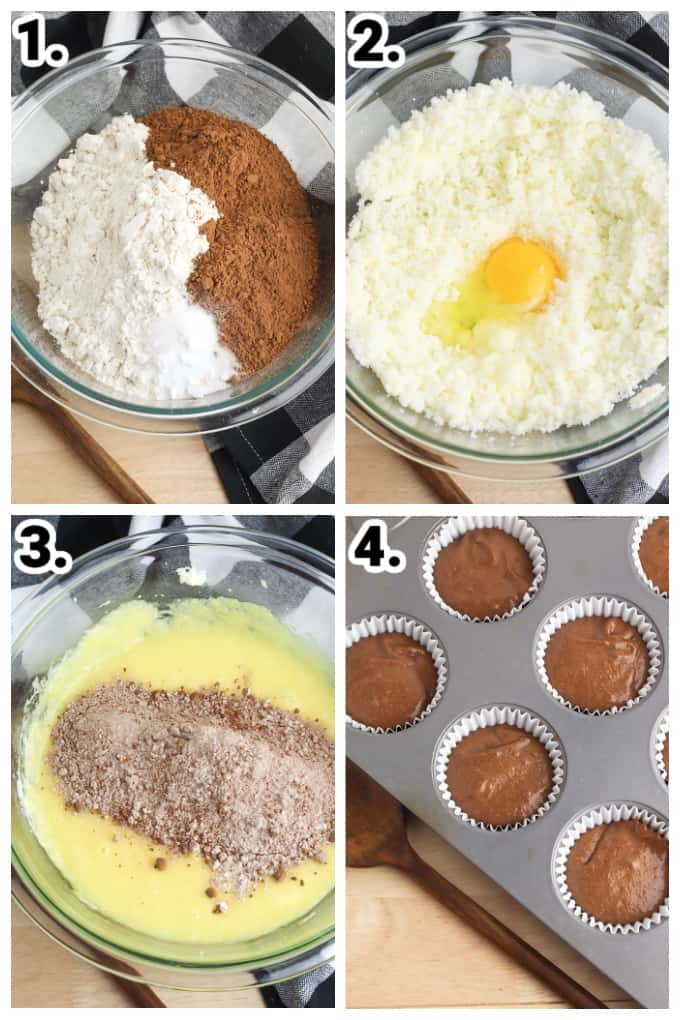 collage showing step-by-step photos on how to make the chocolate cupcakes
