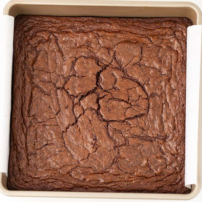 homemade brownies in a golden square pan with a white background