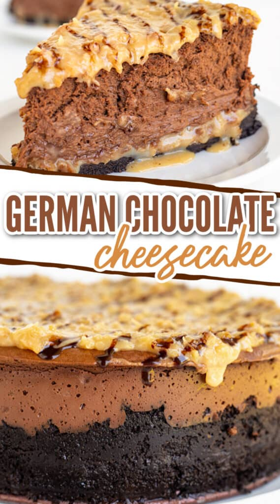 collage of the cheesecake showing a slice and the side view of the whole cheesecake with text in the middle