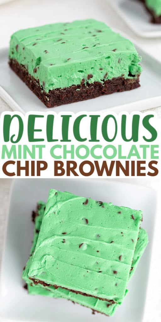 collage of brownies showing the side and overhead photo with text in the middle