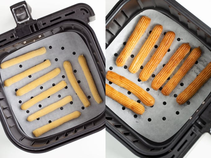 collage showing the raw churros in the air fryer and then after they've been cooked