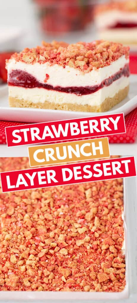 collage showing a slice of dessert on a white plate and a pan of dessert with text in the middle