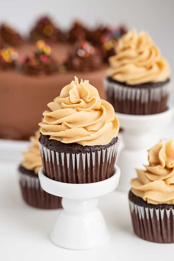 chocolate cupcake on a white cupcake stand with a chocolate cake behind it and cupcakes