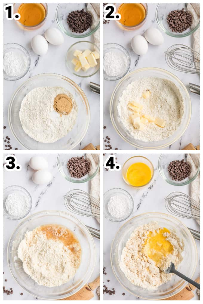 collage of pictures showing step by step how to make cannoli shells