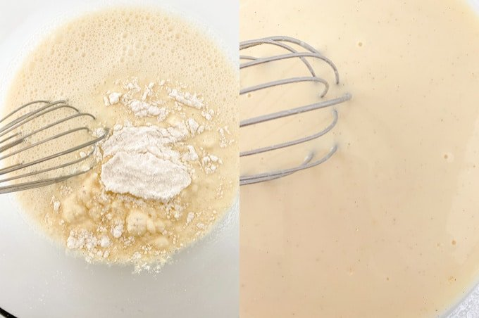 collage adding ingredients and whisking them together in a glass bowl