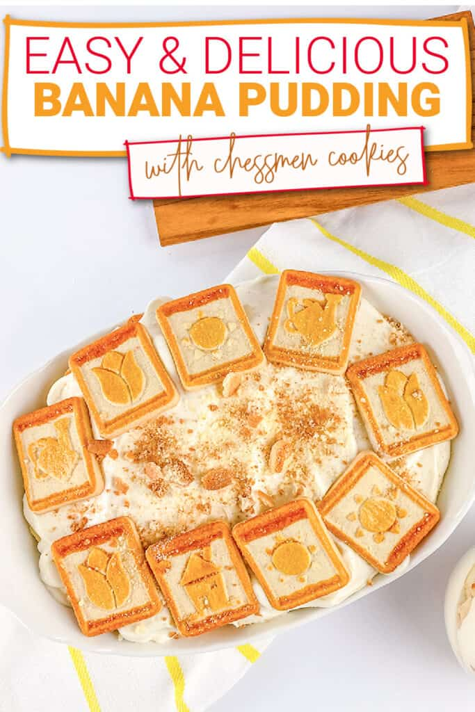 zoomed in image of a dish of banana pudding on a white surface with the recipe name at the top