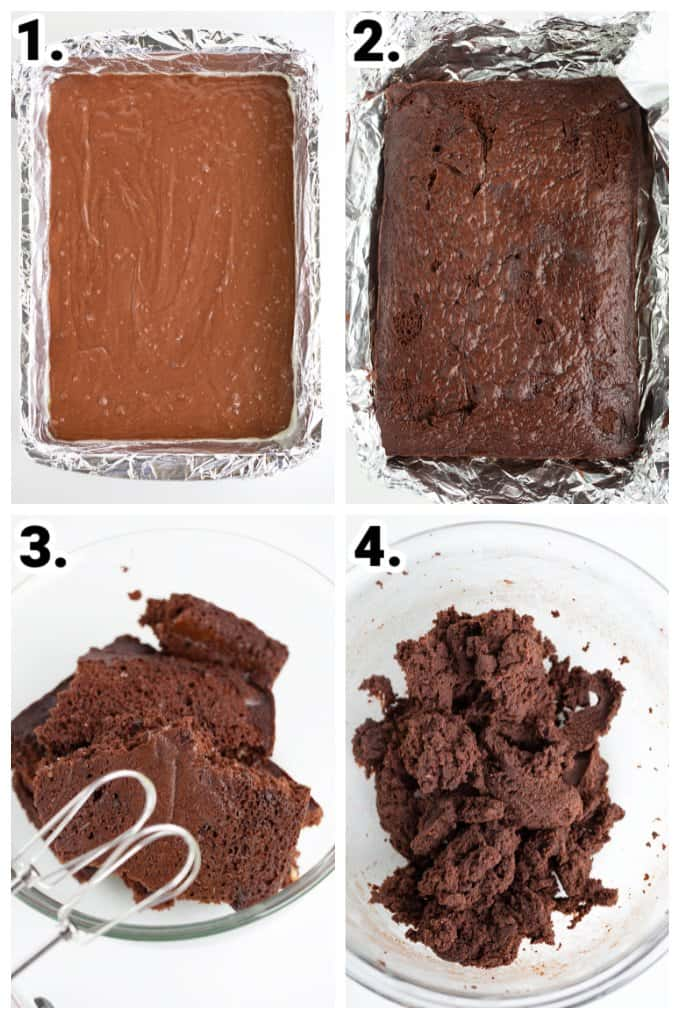 collage showing step by step images on how to make the cake for cake pops