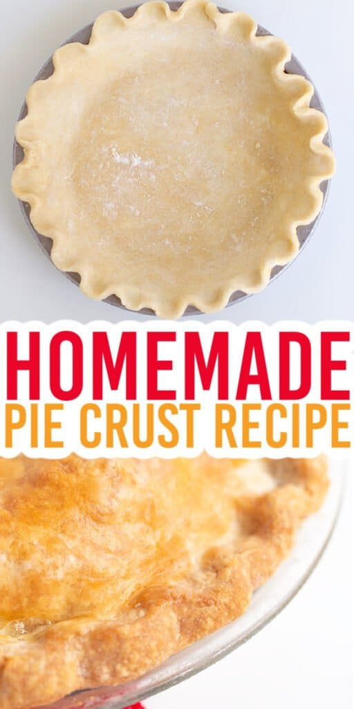 collage showing the raw pie crust in the pie plate and the baked crust with text in the middle