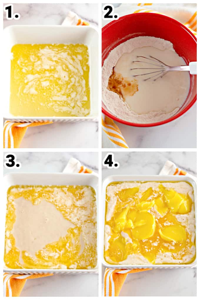Step by Step photos of making lemon cobbler in a white square dish