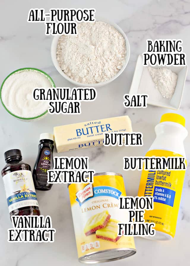 Picture of the ingredients on a marbled surface with text saying what the ingredient is