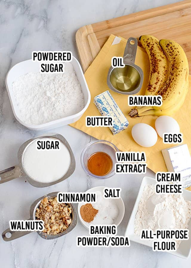 overhead image of ingredients on a marble surface with text over each ingredient