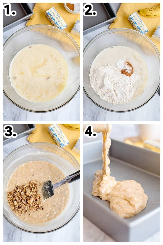 collage showing step by step photos on how to make banana bars by adding ingredients into a glass bowl