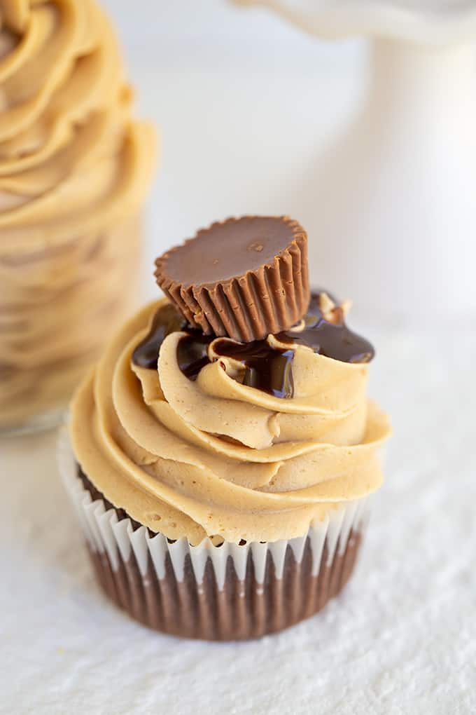 peanut butter frosting on a chocolate cupcake on a white surface
